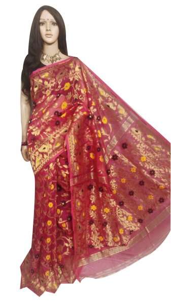 Maroon full body weaving work jamdani silk saree