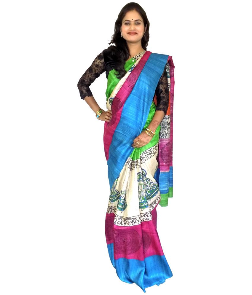 Multi Colored Tussar Silk Saree