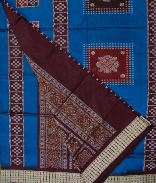 Blue and Brown handwoven Bomkai silk saree