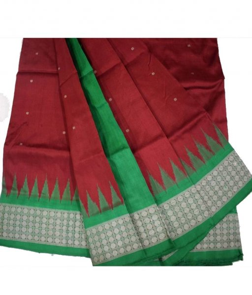 Red Bomkai Silk Saree