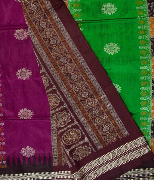 Purple and  Green handwoven Bomkai silk saree