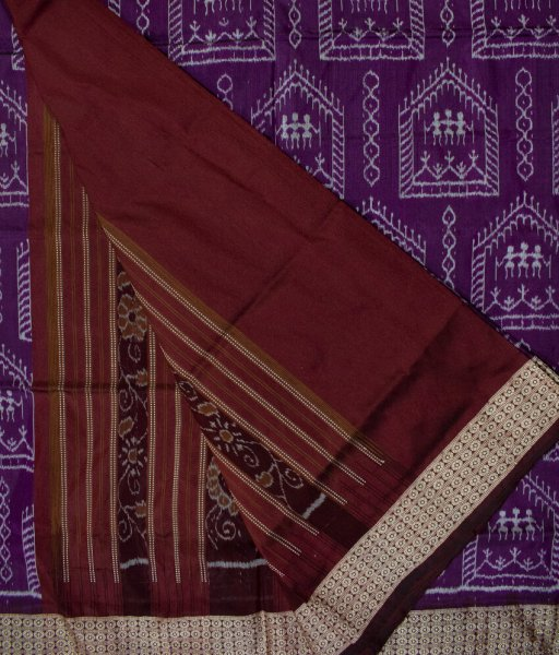 Purple and Maroon handwoven Bomkai silk saree