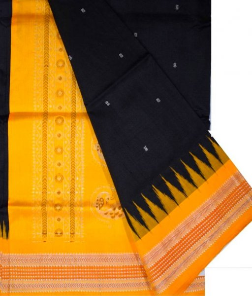 Black Bomkai Silk Saree