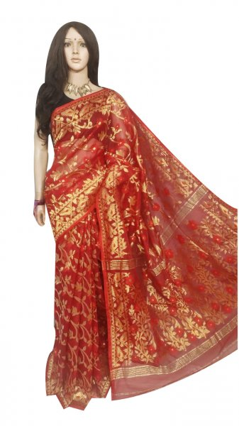 Red full body weaving work jamdani silk saree