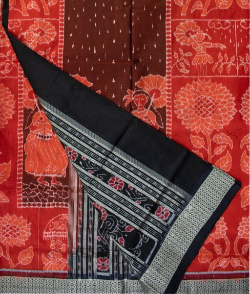 Pastel red and Black handwoven sambalpuri silk saree
