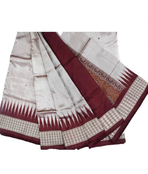 Off-White Bomkai Silk Saree