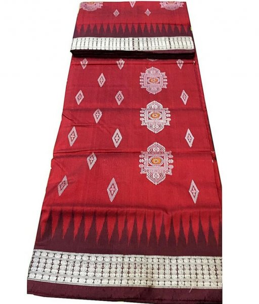Red Sambalpuri Silk Saree