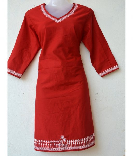 Red Tribal Painting Kurti