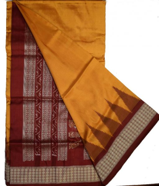 Brown Bomkai Silk Saree