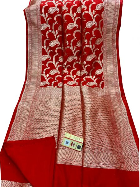 Red and Silver katan banarasi silk saree