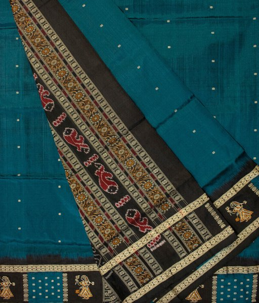 Ocean green and Black handwoven Bomkai silk saree