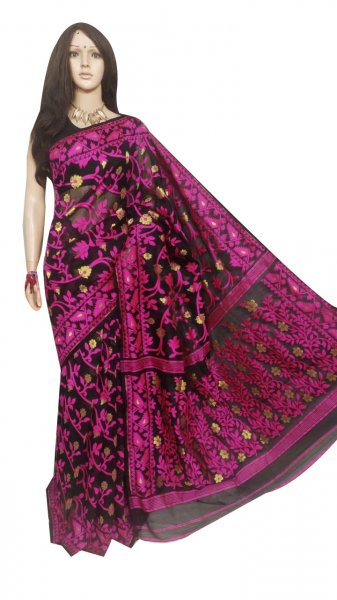 Black and pink full body weaving work jamdani silk saree