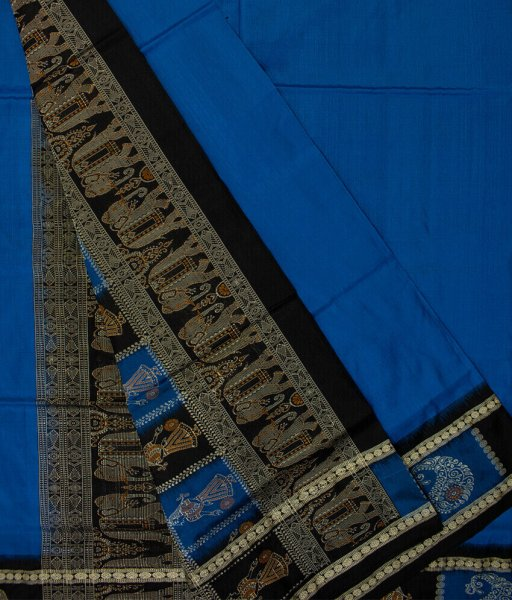 Sky blue and Black handwoven Bomkai silk saree