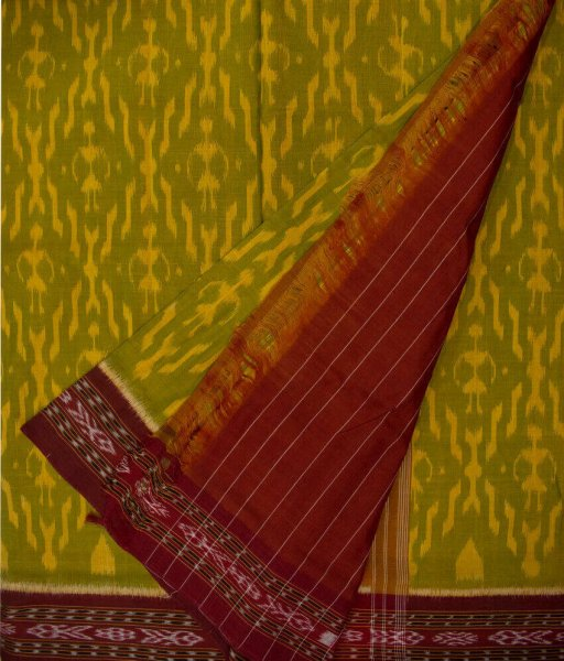 Green, Yellow and Maroon handwoven Sambalpuri cotton saree