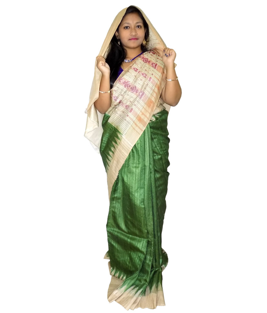 Green Tussar Silk Saree