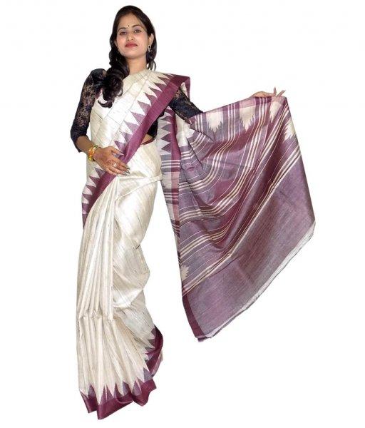 Cream With Coffee Tussar Silk Saree