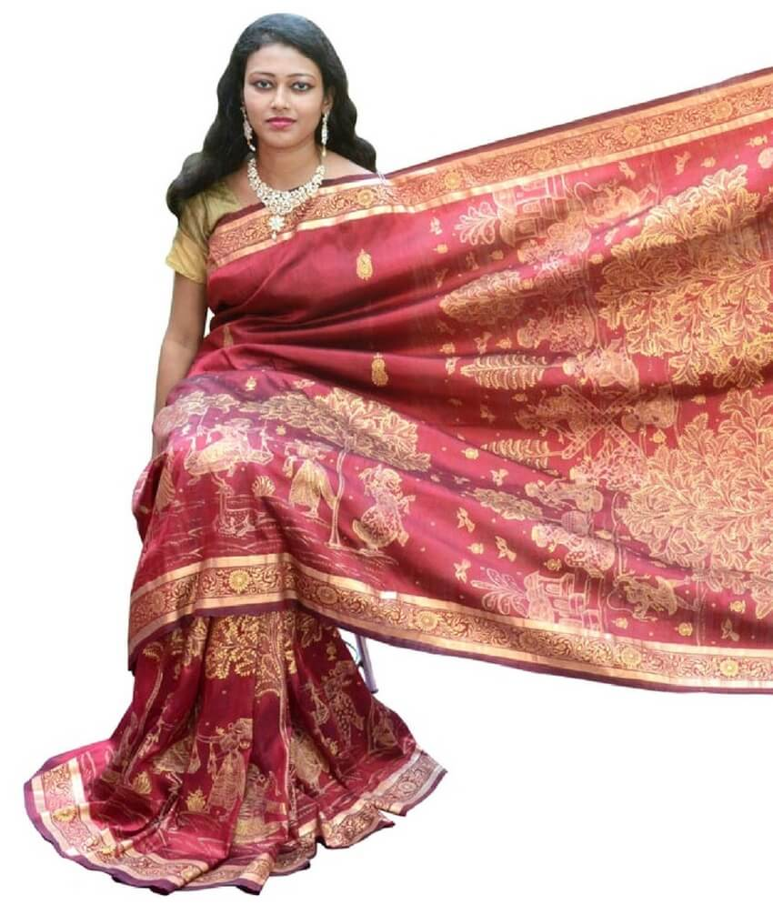 Raas Leela Pattachitra Hand Painting Red Silk Saree