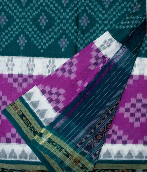 Ocean green and Purple handwoven Sambalpuri cotton saree