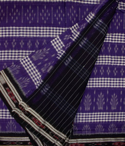 Blue, White and Black handwoven Sambalpuri cotton saree
