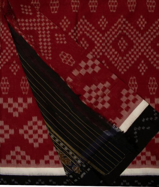 Maroon and Black handwoven Sambalpuri cotton saree