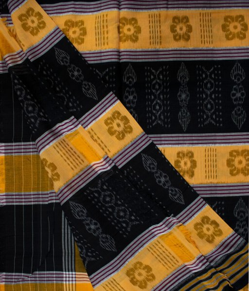 Mustard yellow and Black handwoven Sambalpuri cotton saree