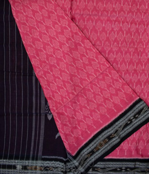Pink and Black handwoven Sambalpuri cotton saree
