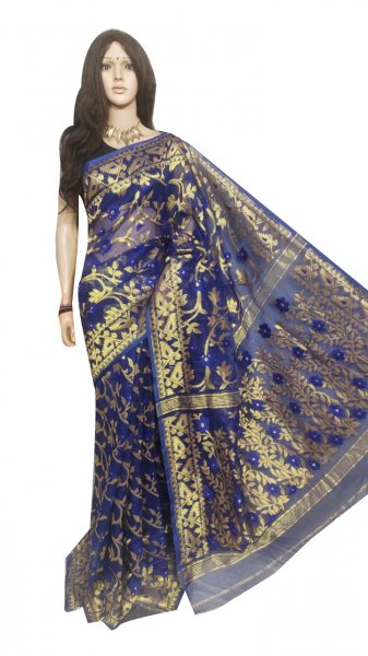 Blue full body weaving work jamdani silk saree