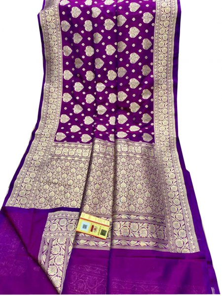 Purple and Silver katan banarasi silk saree