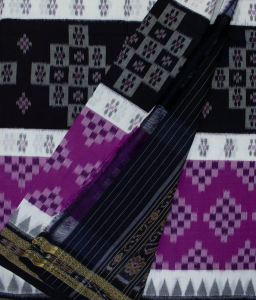 Purple, White and Black handwoven Sambalpuri cotton saree