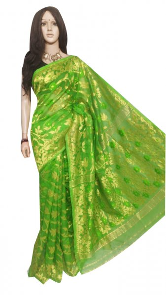 Green full body weaving work jamdani silk saree