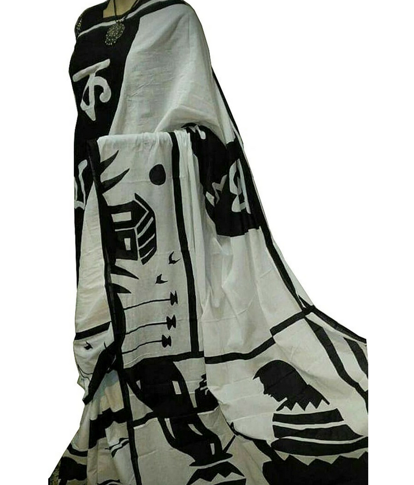 Bishnupuri Silk Black & White Saree