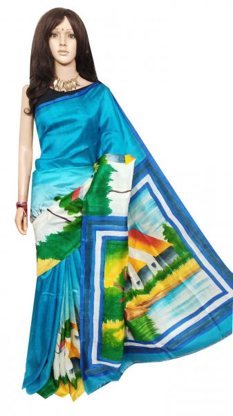 Sky blue hand painted Bishnupuri silk saree