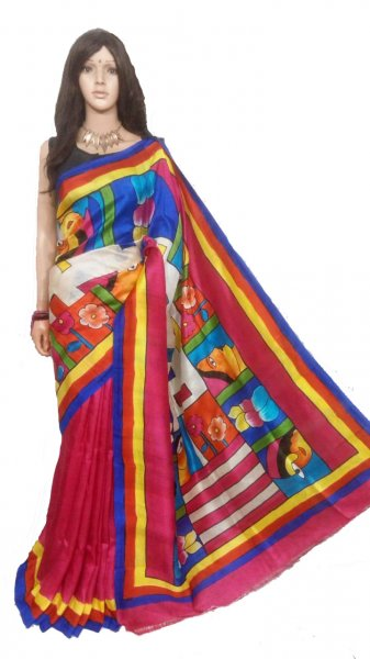 Red , Blue and Yellow hand painted Bishnupuri silk saree