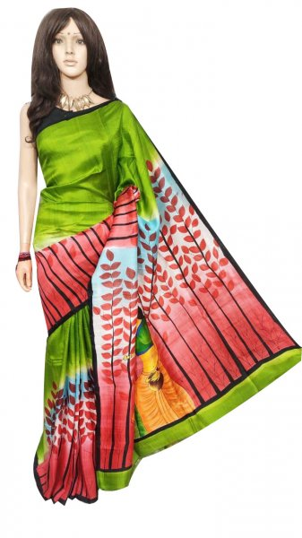 Green and Maroon hand painted Bishnupuri silk saree