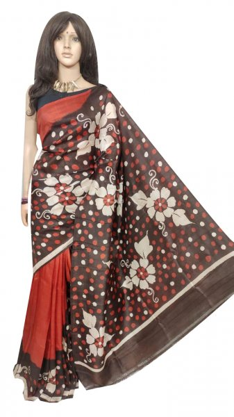 Maroon and White hand painted Bishnupuri silk saree