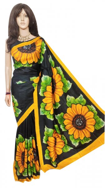 Black, Green and yellow hand painted Bishnupuri silk saree