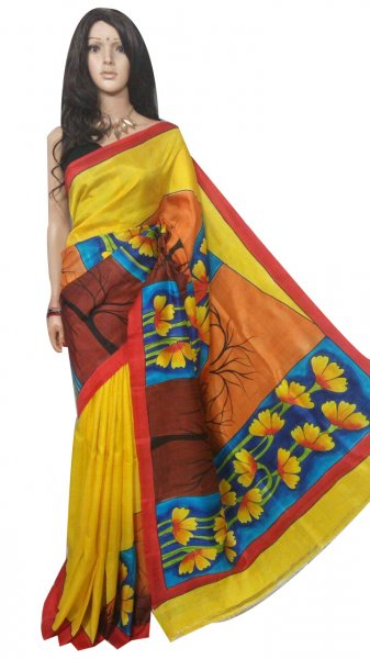 Yellow hand painted Bishnupuri silk saree