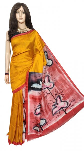 Mustard yellow hand painted Bisnupuri silk saree