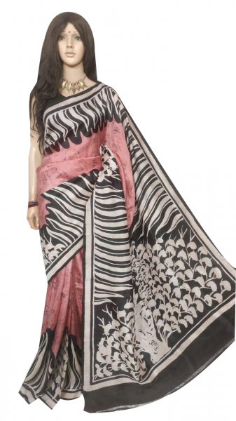 Black , white and onion pink hand painted silk saree
