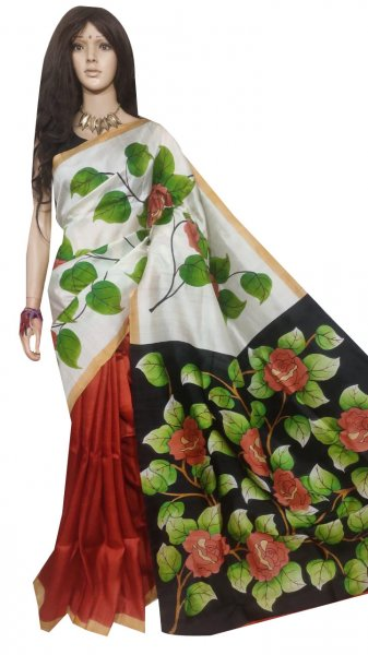 White, black and green hand painted Bishnupuri silk saree