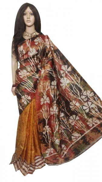 Maroon,black,white and mustard yellow hand painted Bshnupuri silk saree