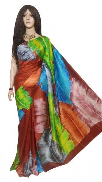 Multi colored hand printed  Bisnupuri silk saree