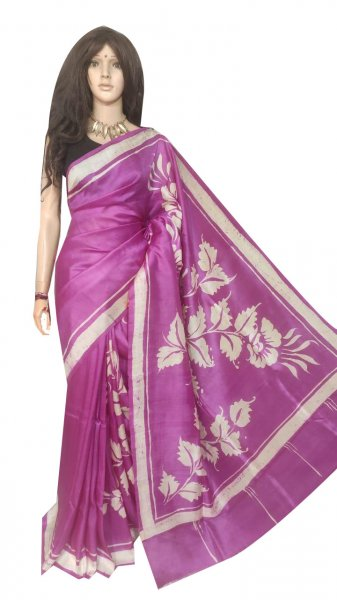 Purple and silver hand painted Bishnupuri silk saree