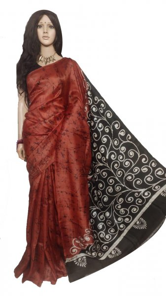 Black and Maroon hand painted Bisnupuri silk saree