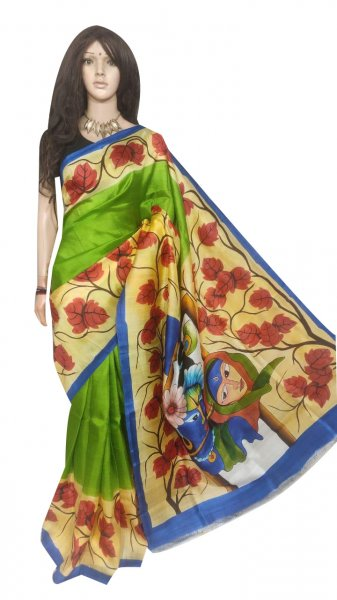 Green, Cream and Maroon hand painted Bisnupuri silk saree