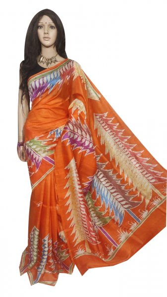 Orange hand painted Bishnupuri silk saree