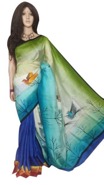 Multi colored hand painted Bisnupuri silk saree