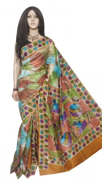 Multi colored hand painted Bishnupuri silk saree