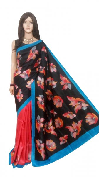 Black hand painted Bishnupuri silk saree