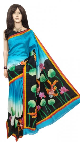 Black and Sky blue hand painted Bishnupuri silk saree